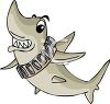 picture of a shark swimming with his teeth showing in a vector clip art illustration clipart