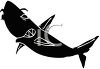 picture of a silhouette of a shark swimming in a vector clip art illustration clipart