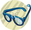 picture of a pair of blue eyeglasses in a vector clip art illustration clipart