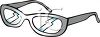 picture of a pair of eyeglases with lightning bolts through the lens in a vector clip art illustration clipart