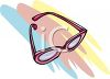picture of a pair of pink rimmed eyeglasses in a vector clip art illustration clipart