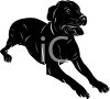 picture of a black dog laying down with his tongue out in a vector clip art illustration clipart