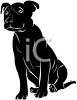 picture of a young black dog in a vector clip art illustration clipart