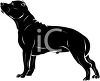 picture of a black dog standing and looking up in a vector clip art illustration clipart