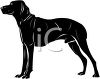 picture of a large black dog standing in a vector clip art illustration clipart