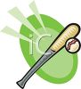 clip art illustration of a baseball bat and ball in a vector clip art illustration clipart