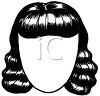 picture of a long black wig on a mannnequin head in a vector clip art illustration clipart
