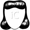picture of a long black wig on a mannequin head in a vector clip art illustration clipart