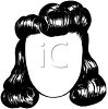 picture of a black wig with big curls in a vector clip art illustration clipart