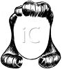 picture of a wig in a 50's style long girls cut in a vector clip art illustration clipart