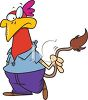 picture of a cartoon chicken with a quirky face holding it's tail which is a cow's tail in a vector clip art illustration clipart