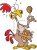 picture of a funny cartoon chicken with a scared face holding a piece of fried chicken in a vector clip art illustration clipart