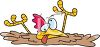 picture of a chicken sinking in quicksand with his tongue out in a vector clip art illustration clipart
