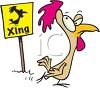 picture of a cartoon chicken crossing the road and a chicken xing sign in a vector clip art illustration clipart