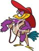 picture of a cartoon chicken dressed up in a red hat, purple boa and pearls in a vector clip art illustration clipart