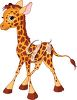 picture of a cute baby giraffe standing up in a vector clip art illustration clipart