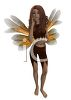 picture of a fairy standing up with yellow and white wings and brown hair in a vector clip art illustration clipart