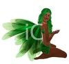 picture of a beautiful fairy sitting down with long green hair,m and green wings in a vector clip art illustration clipart