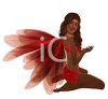 picture of a fairy sitting down wearing red wings and clothing in a vector clip art illustration clipart