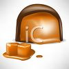 picture of a piece of chocolate with a caramel center in a vector clip art illustration clipart