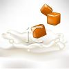 picture of a pieces of caramel floating above splashing milk in a vector clip art illustration clipart