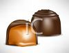 picture of two pieces of chocolate filled with caramel in a vector clip art illustration clipart