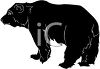 picture of a silhouette of a large black bear in a vector clip art illustration clipart