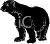 picture of a silhouette of a large bear in a vector clip art illustration clipart