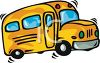 picture of a cartoon of a short school bus driving in a vector clip art illustration clipart