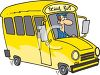 picture of a cartoon school bus and bus driver in a vector clip art illustration clipart