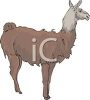 picture of a llama stand up in a vector clip art illustration clipart
