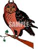 picture of a colorful owl sitting on a perch in a vector clip art illustration clipart