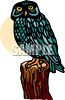 picture of a blue owl sitting on a log in a vector clip art illustration clipart