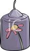 picture of a lavender votive candle with a flower painted on it in a vector clip art illustration clipart