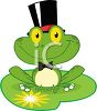 picture of a frog sitting on a lily pad wearing a tophat in a vector clip art illustration clipart