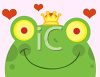 picture of a frog wearing a crown with hearts floating in the air in a vector clip art illustration clipart