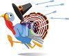 picture of a scared turkey running away from arrows being shot at him in a vector clip art illustration clipart