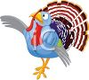 picture of a turkey standing with a funny face in a vector clip art illustration clipart