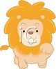 picture of a cartoon lion reaching out his paw in a vector clip art illustration clipart