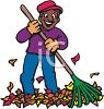 picture of a happy man raking leaves in a vector clip art illustration clipart