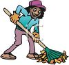 picture of a happy woman raking leaves in a vector clip art illustration clipart