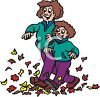 picture of a mom and daughter walking through a pile of leaves clipart