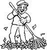 picture in black and white of a happy man raking up leaves clipart