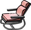 picture of a metal rocking chair with a pink cushion in a vector clip art illustration clipart
