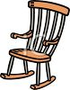 picture of a wooden rocking chair in a vector clip art illustration clipart