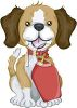 picture of a beagle puppy wearing a tag in a vector clip art illustration clipart