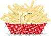 picture of a cardboard container full of french fries in a vector clip art illustration clipart