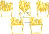 picture of 5 bags of french fries in a vector clip art illustration clipart