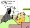 picture of a grim reaper haunting a sick man in a hospital bed in a vector clip art illustration clipart