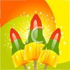 picture of rocket popsicles on sticks on an orange, yellow and green background in a vector clip art illustration clipart
